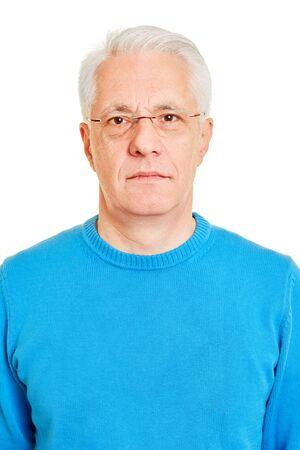 Neutral face of senior as biometric passport photo Imagens