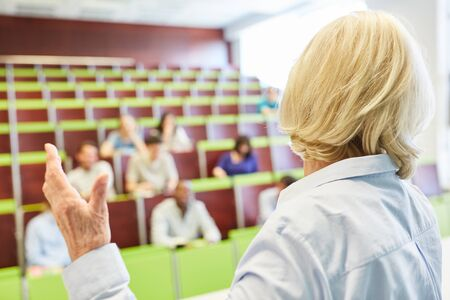 University training lessons with teacher and college students