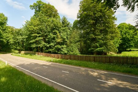 Empty straight highway in summer by green nature Stockfoto