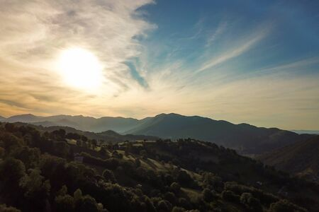 Sunset in the mountains of the Pyrenees in France