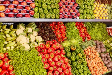 Large assortment of vegetables in the supermarket as a symbol of organic food Stock fotó