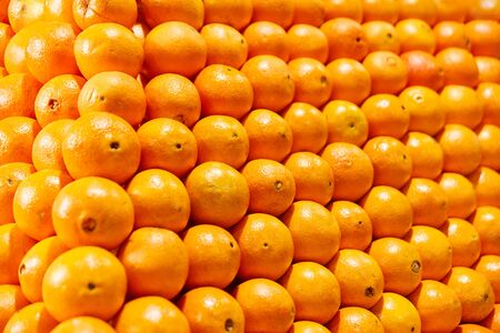 Stack of oranges in the fruit section for healthy eating and vitamins Stock fotó