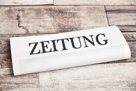 Generic newspaper with German word