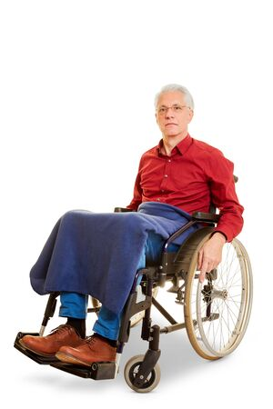 Old senior disabled man sits in a wheelchair