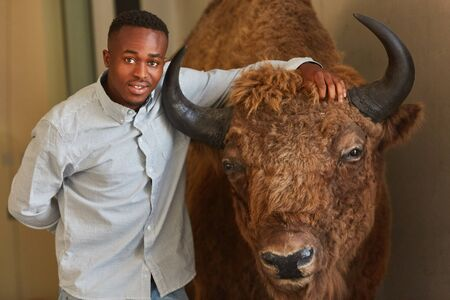 African student with breeding bull as agronomy asignment Stock fotó