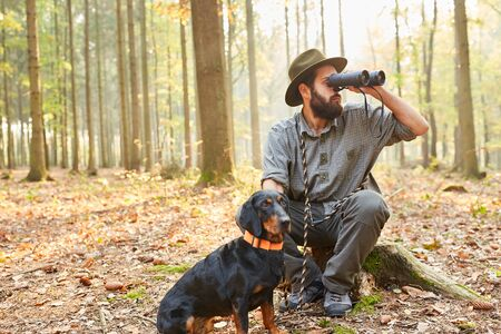Hunter or district ranger with hunting dog looks through the binoculars in the forest