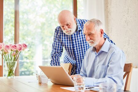 Two seniors using laptop computer during e-learning for further education
