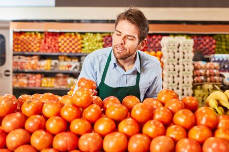 Young man as a trainee salesman sorts tomatoes in the vegetable section