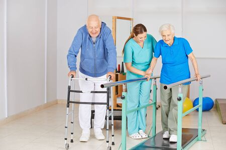 Senior on treadmill at physiotherapy with nurse in nursing home