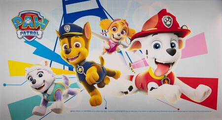 COLOGNE, February 2020: Paw patrol franchise on display at ISM trade fair