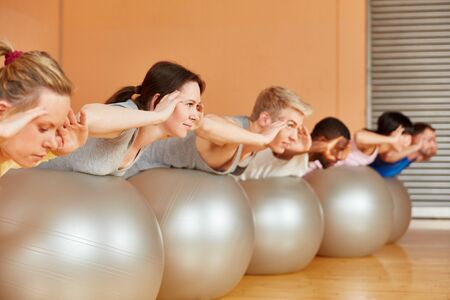 Group trains together in the Pilates class in the fitness center