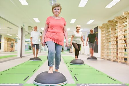Group seniors training endurance and fitness in the aerobics class with the Bosu Ball