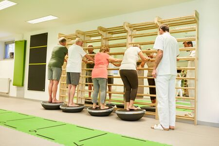 Group of seniors exercises balance and coordination on a Bosu Ball in physiotherapy