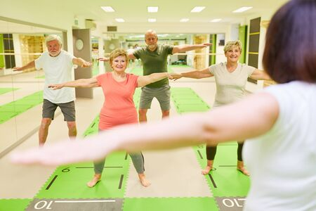 Athletic senior group with instructor in a fitness workout during back training Reklamní fotografie