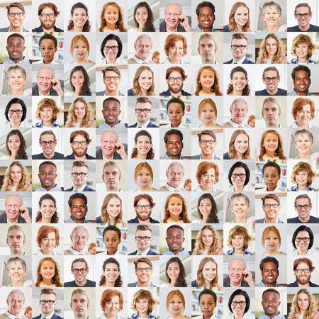 Indoor-Portraitcollage von Menschen unterschiedlichen Alters als Gesellschafts- und Generationenkonzept