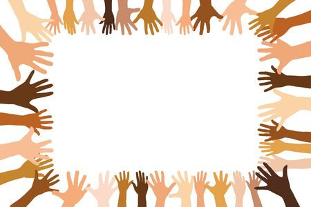 Group of diverse hands forms a frame with copy space as a team concept
