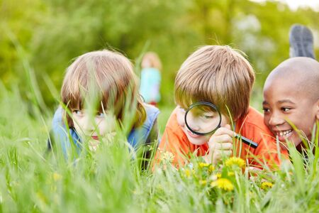 Three children in the grass explore and discover nature and the environment with a magnifying glass