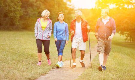 Happy group of seniors walking in hiking club in summer