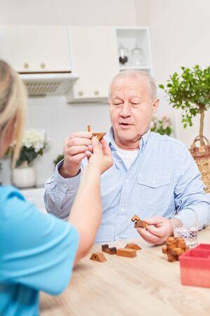 Nursing care for senior citizens with dementia at home when nursing 版權商用圖片