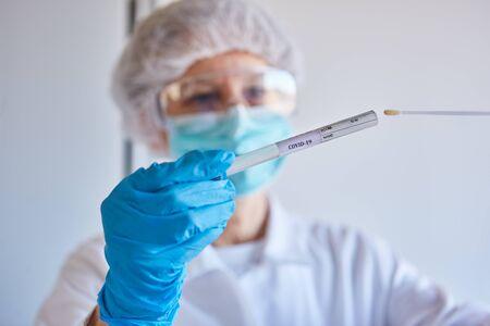 Saliva sample as a swab of throat for Covid-19 laboratory test during coronavirus epidemic