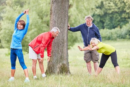 Senior group in the park stretching while warming up or regenerating