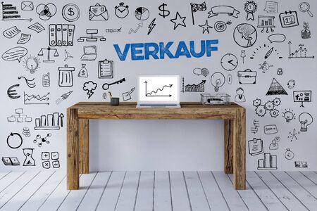 Verkauf Konzept mit Slogan und Icons an Home Office Arbeitsplatz als Konzept