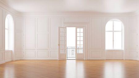 Chambre vide élégante dans un immeuble ancien avec portes doubles donnant sur le balcon (rendu 3D)