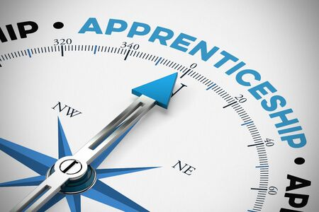 Apprenticeship on compass as education or training concept (3D Rendering)