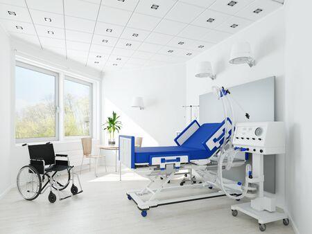 Empty clean single room in nursing home for seniors (3D Rendering)