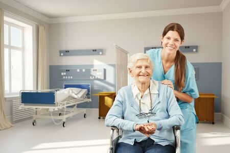 Happy senior woman as a patient in hospital with a nurse (3D Rendering)