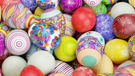 Many colorful decorated easter eggs as easter background (3D Rendering)