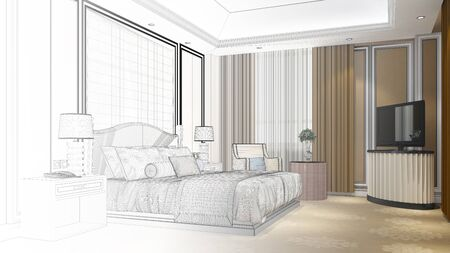 CAD plan draft process of hotel bedroom as planning interior design concept (3D Rendering)