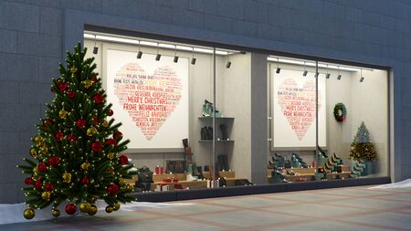 Christmas shop window showcase in retail shopping mall with shoes and trees (3D Rendering)