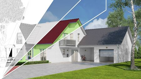 House construction in various stages of planning and development from CAD sketch to 3D render