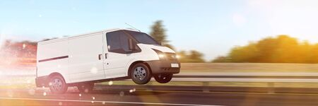 Fast delivery van drive on highway or street for express shipping (3D Rendering)