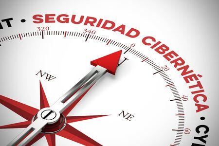 "Spanish slogan ""seguridad cibernetica"" (cyber security) on compass (3D Rendering)"