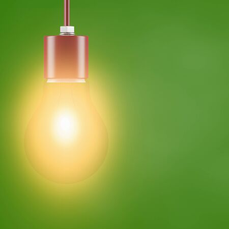 Light bulb on green background as save energy concept (3D rendering) Standard-Bild