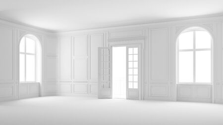 Empty salon or hall in white with stucco and balcony in old apartment (3D Rendering)
