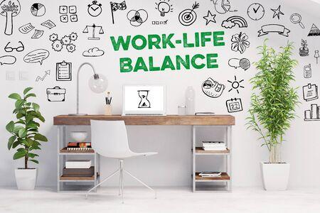 Work-Life-Balance als Business Konzept im Büro an der Wand über einem Schreibtisch