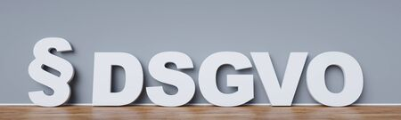 General Data Protection Regulation (DSGVO) Concept with paragraph on a wall (3D Rendering)