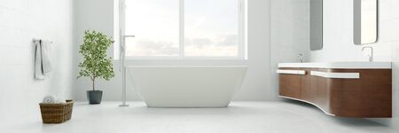 Bathroom with bathtub in modern interior design as panorama (3D Rendering)