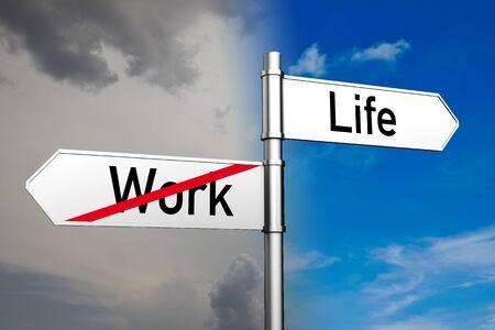 Work-Life-Balance als Konzept auf einem Wegweiser vor einem Himmel
