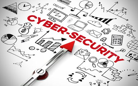 English slogan Cyber Security with business icons and arrow (3D Rendering)