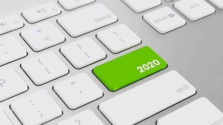 Neujahr 2020 Konzept auf einer Tastatur von einem Computer