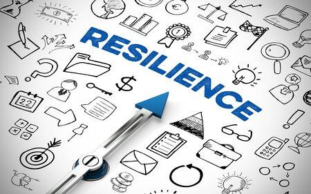 """Englischer Slogan """"Resilience"""" (Resilienz) als Ziel auf Kompass mit Icons als Widerstandsfähigkeit Konzept"""
