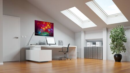 Attic as home office or study room with desk and computer (3D Rendering)