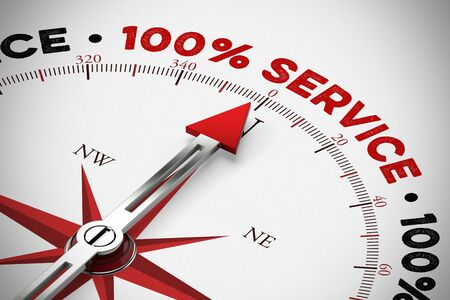 100% service and customer service as concept with compass and arrow (3D Rendering) Standard-Bild