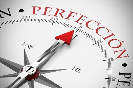 Roter Pfeil von einem Kompass zeigt auf Perfección / Perfektion im Business Stock Photo