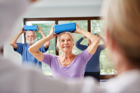 Seniors do a balance exercise with the yoga block as back training