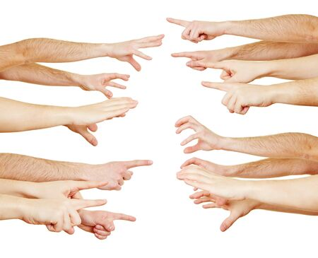 Many outstretched hands are in competition with each other